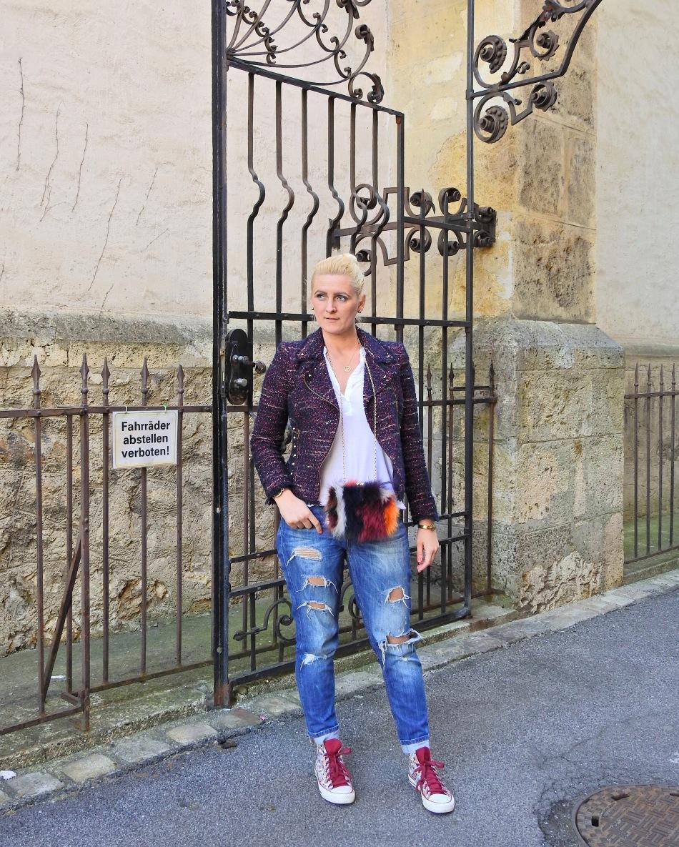 Tweed Jacket, Fake Fur Bag, Denim, carrieslifestyle